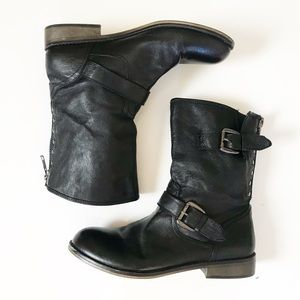Steve Madden Leather Black Moto Temmpt Boots